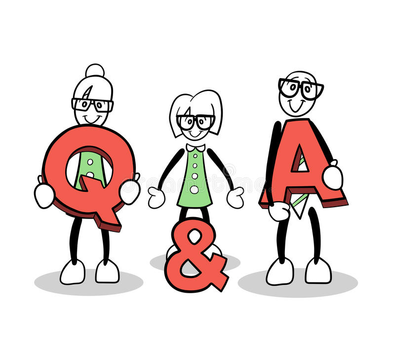 Cute cartoons showing q and a vector vector illustration