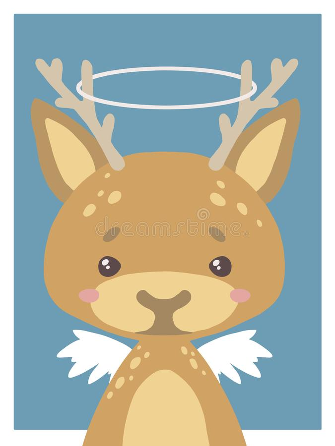 Cute cartoons style nursery vecor animal drawing of a guardian angel deer with halo and wings royalty free illustration