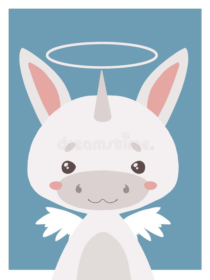 Cute cartoons style nursery vecor animal drawing of a guardian angel unicorn with halo and wings stock illustration