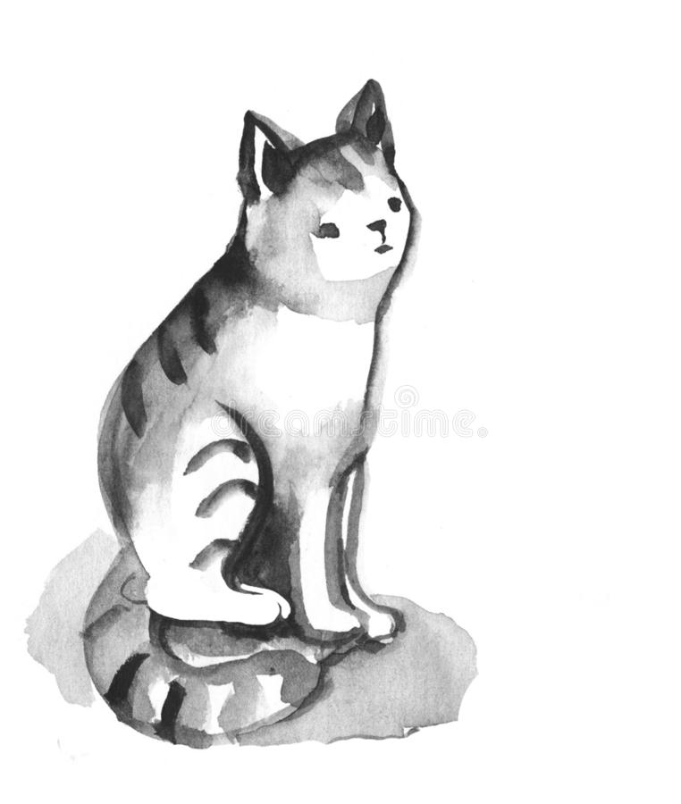 Cute cat in black watercolor illustration isolated on white background stock illustration