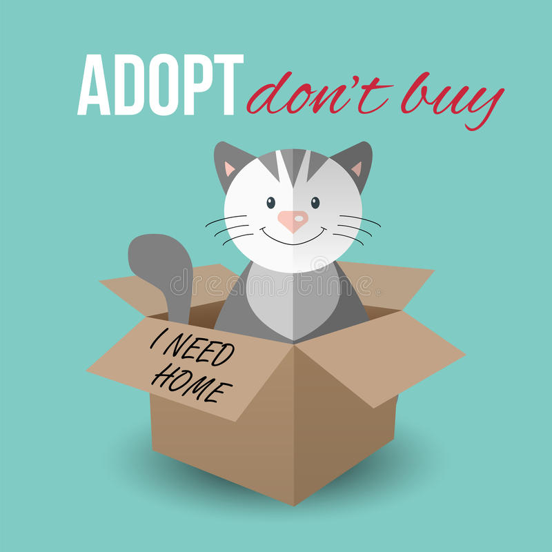 Cute cat in a box with Adopt Don't buy text. Homeless animals concept, pets adoption theme. Vector illustration royalty free illustration