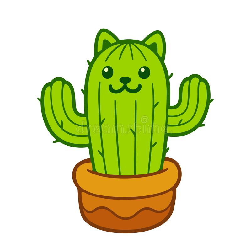 Cute cat cactus. Cartoon cat cactus drawing. Cute prickly kitty in flower pot, vector illustration royalty free illustration