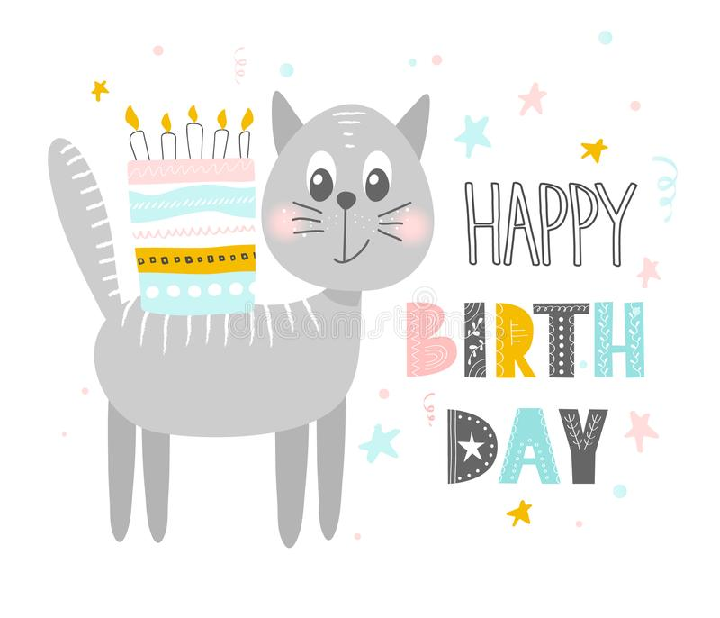 Cute cat with cake .Happy birthday. Greeting card, banner, poster. Scandinavian style flat design. Concept for children print. Vec vector illustration