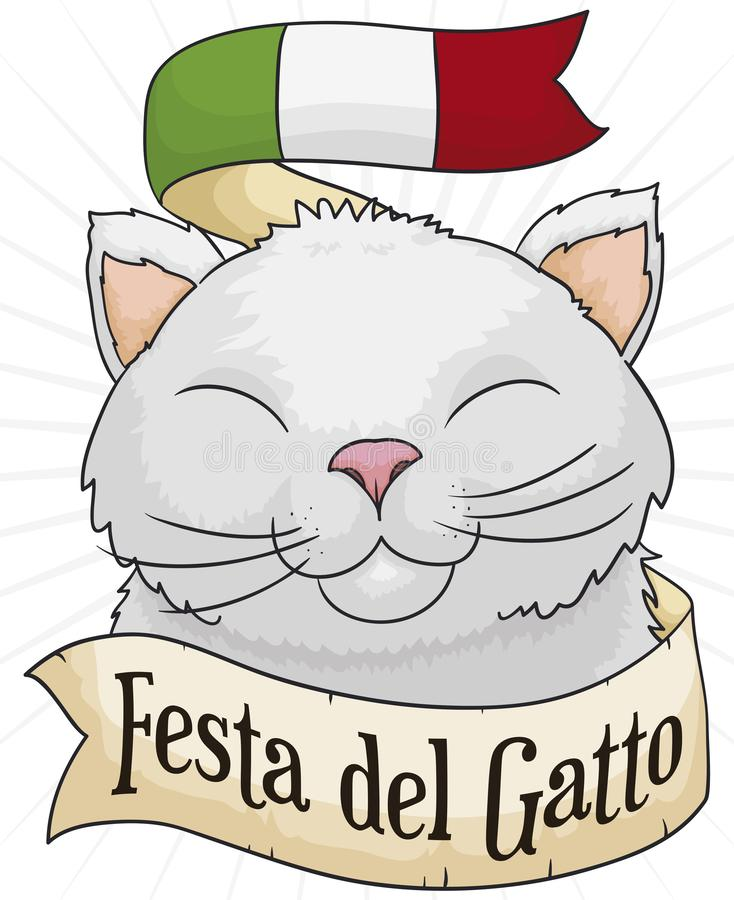 Cute Cat Celebrating with Flag and Ribbon for Cat Day, Vector Illustration royalty free illustration