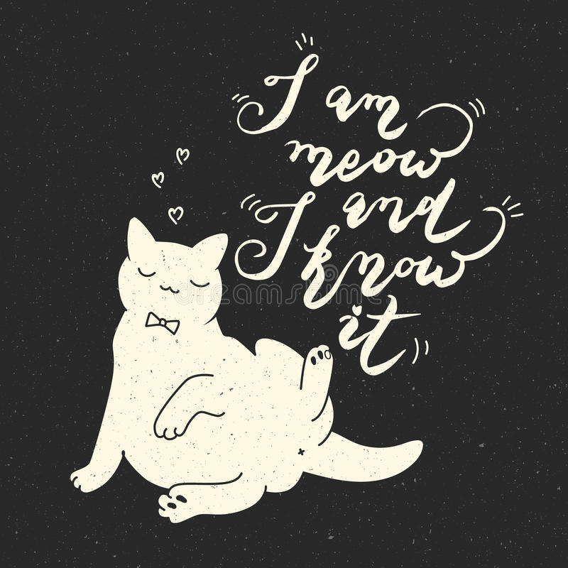 Cute cat character and quote. vector illustration