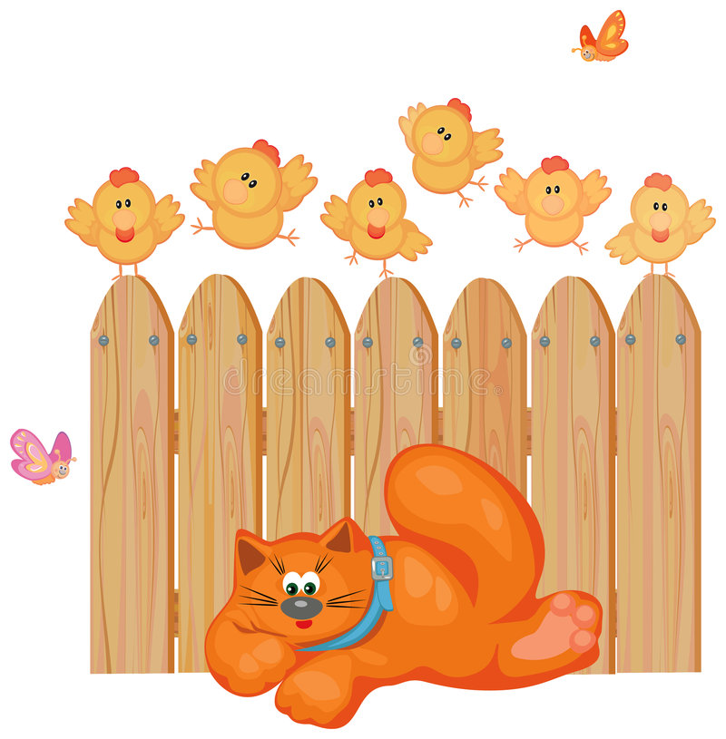 Download Cute cat and chickens. stock vector. Image of design, chick - 7080280