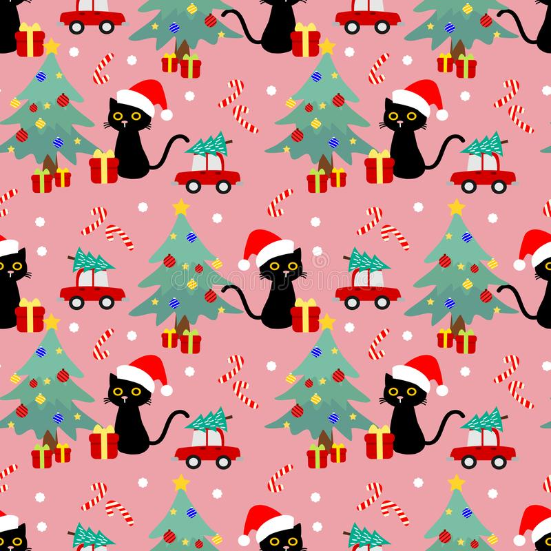 Cute cat and Christmas seamless pattern. Cute animal in Christmas theme stock illustration