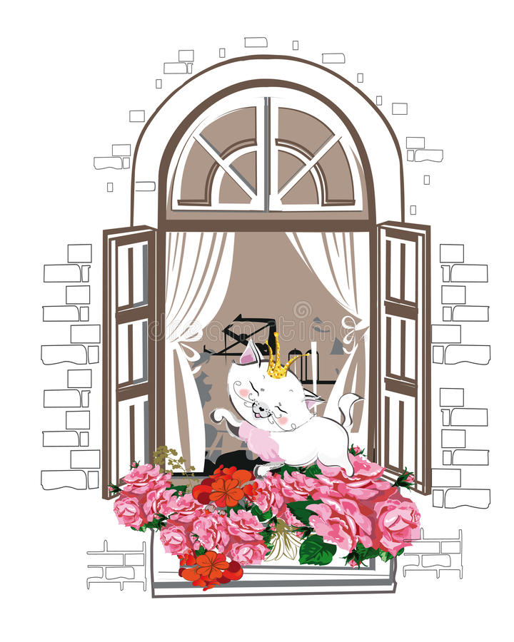 Cute cat with a crown in the window with flowers. royalty free illustration