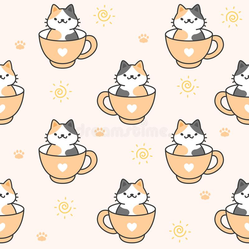 Cute Cat In A Cup Of Coffee Seamless Pattern Background Stock Vector Illustration Of Decoration Background 144558038