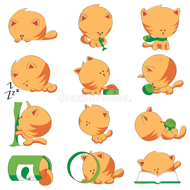 Download Cute Cat Different Positions Stock Vector - Image: 17539682