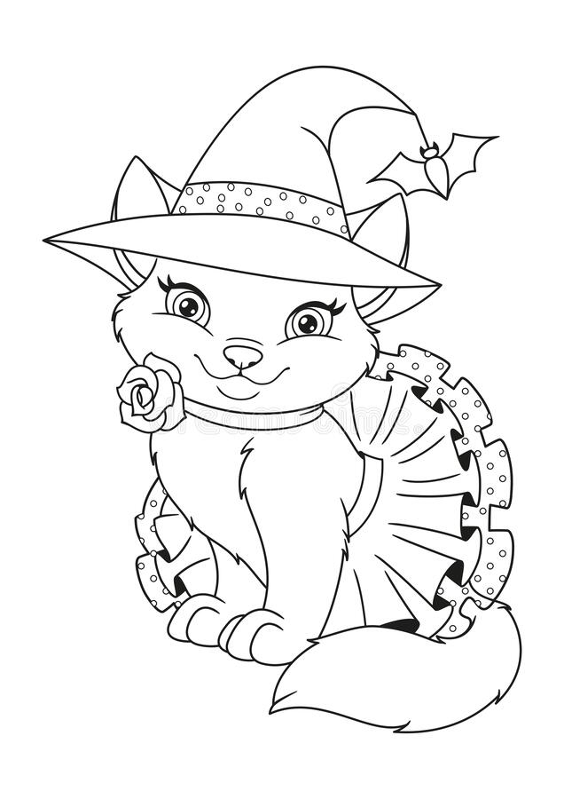 Cat Halloween Witch Coloring Page Stock Vector ...
