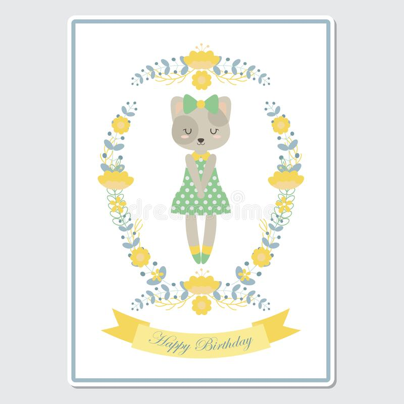 Cute cat girl on flower wreath suitable for Birthday card design vector illustration