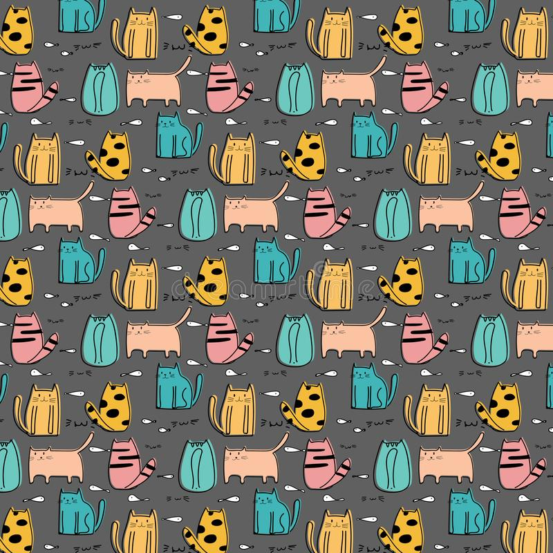 Cute Cat Hand Drawn Vector Pattern. royalty free illustration