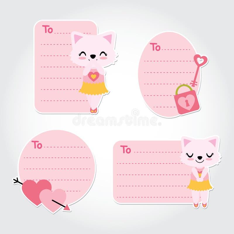 Cute cat, heart arrow, and love padlock cartoon vector illustration