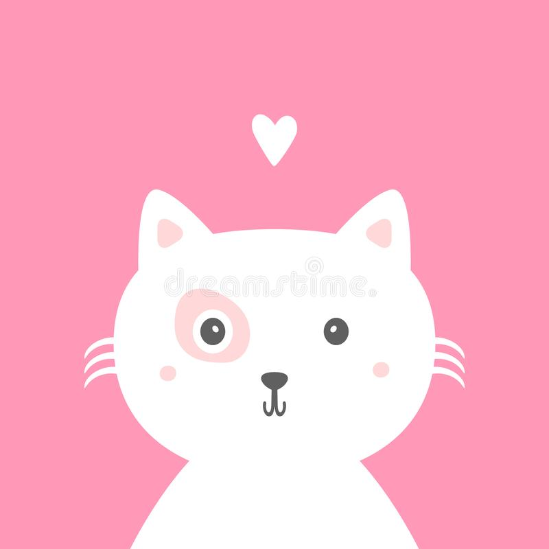 Cute cat with heart. Card, print, sticker, poster for children. Cartoon vector illustration stock illustration