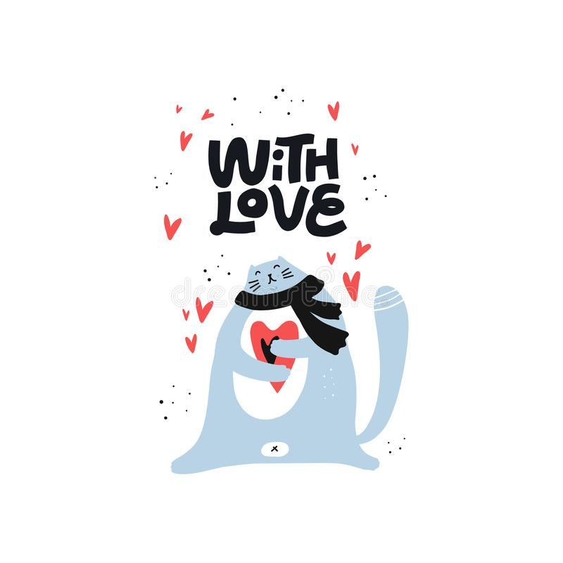 Cute cat holding heart vector color character vector illustration