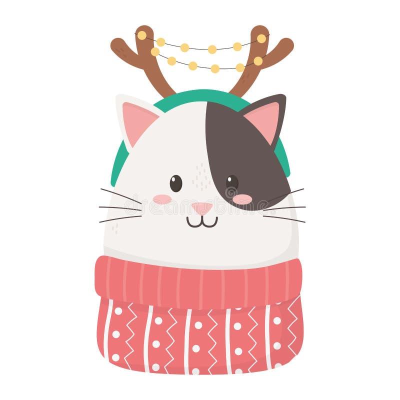 Cute cat with horns sweater firar glada julklappar royaltyfri illustrationer