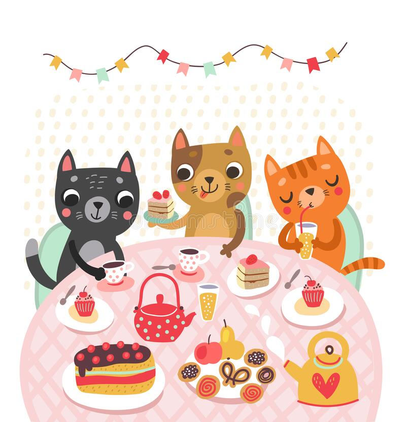 Free Cute Cat In The Teapot. Funny Illustration. Tea Time Royalty Free Stock Photo - 179294095