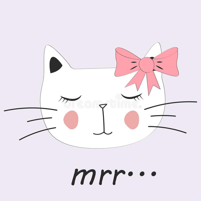 Cute cat. Little kitty with glasses, bow. Mrr slogan royalty free illustration