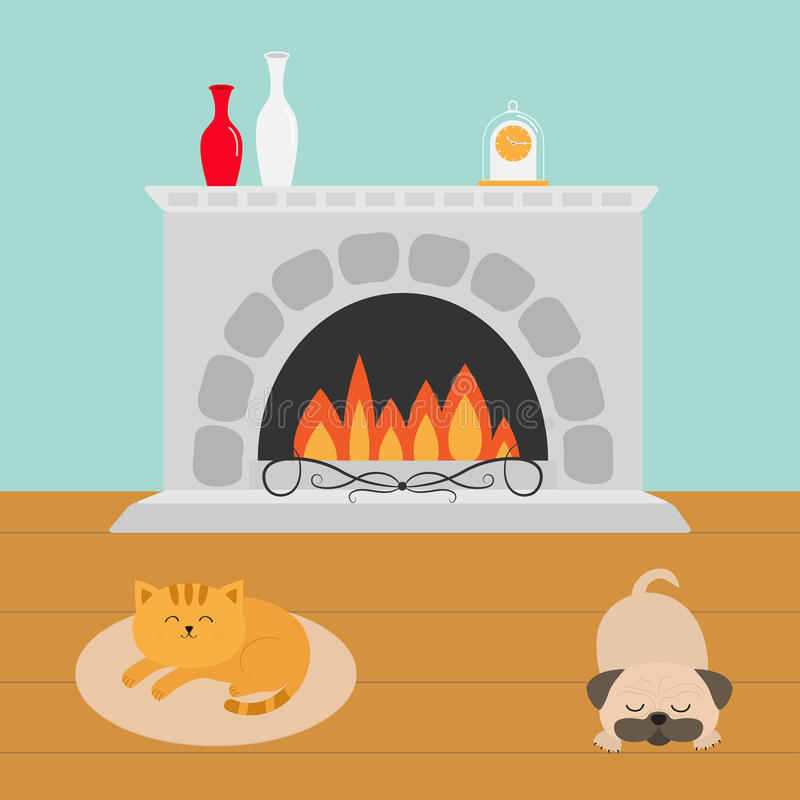 Cute cat lying on oval carpet rug mat. Sleeping mops pug dog. Funny cartoon character. Fireplace with vase set and clock. Burning stock illustration
