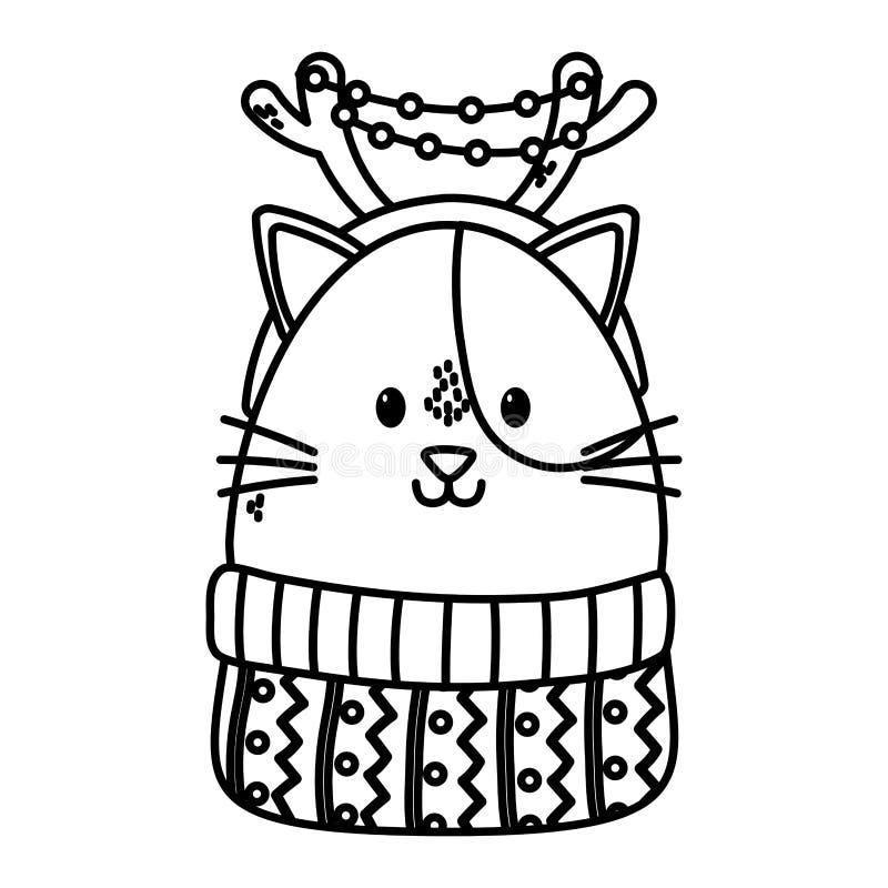 Cute cat med horns, svettare, glad julklapp vektor illustrationer
