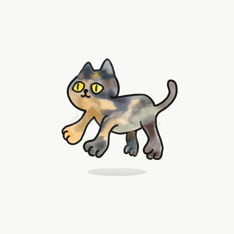 Cute cat painting illustration.Kitty jump. On white background.Cat design illustration royalty free illustration