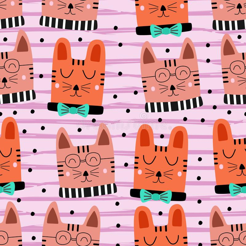 Cute cat pattern drawing colorful background seamless hand drawn. Funny objects decoration for baby and kids fashion textile print. Illustration, cartoon royalty free illustration