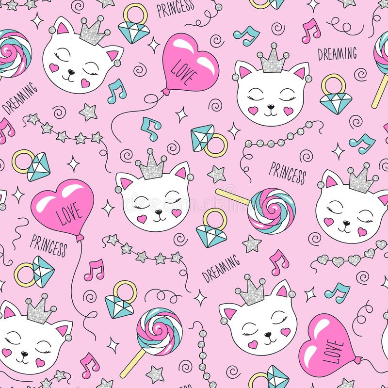 Cute cat pattern on a pink background. Colorful trendy seamless pattern. Fashion illustration drawing in modern style for clothes vector illustration
