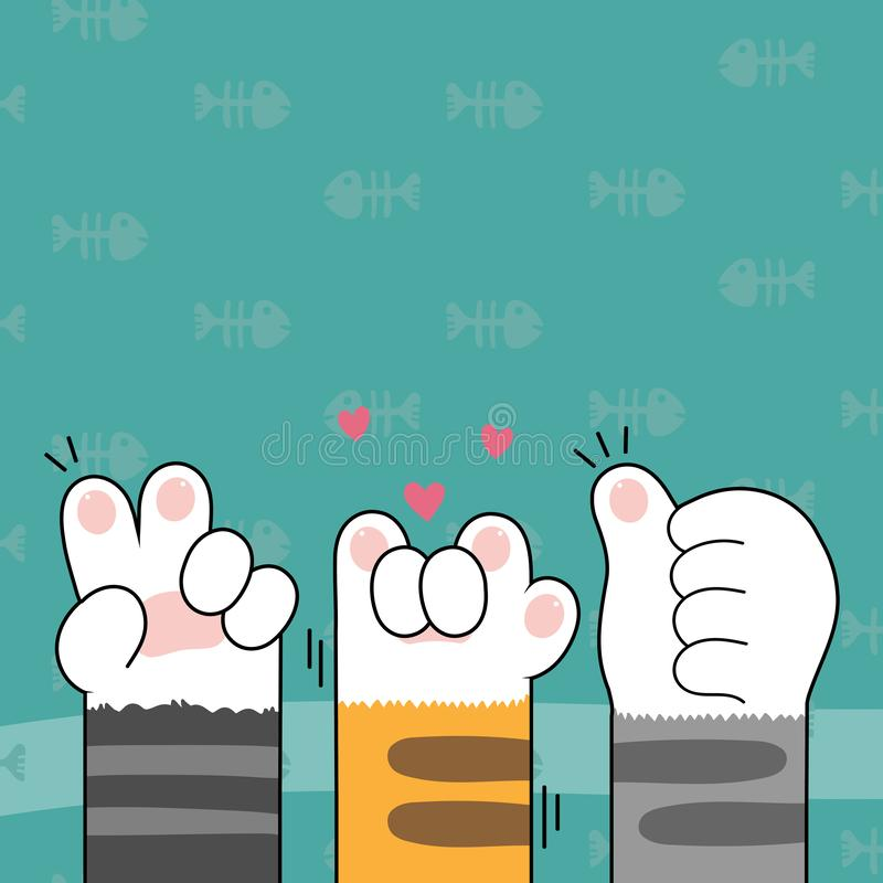 Cute cat paws wallpaper vector illustration. Vector illustration royalty free illustration