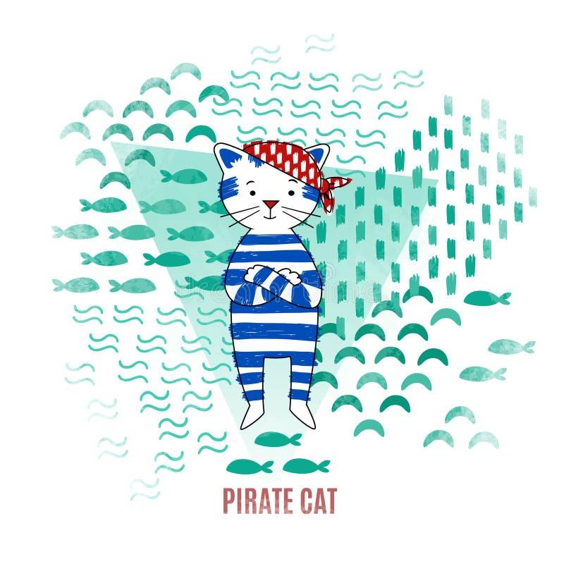Cute cat pirate vector illustration vector illustration