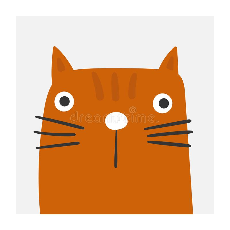 Cute cat portrait. Funny kitten for pet store, adopt center. Cat lover royalty free illustration