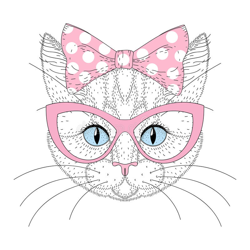 Free Cute Cat Portrait With Pin Up Bow Tie On Head, Sunglasses. Hand Royalty Free Stock Photography - 84700067