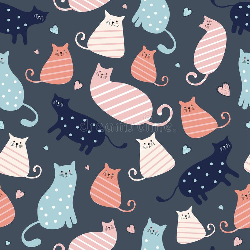 Cute cat seamless pattern with colorful nursery background for fashion textile wrapping and print. Vector illustration hand drawn. Scandinavian style drawing royalty free illustration