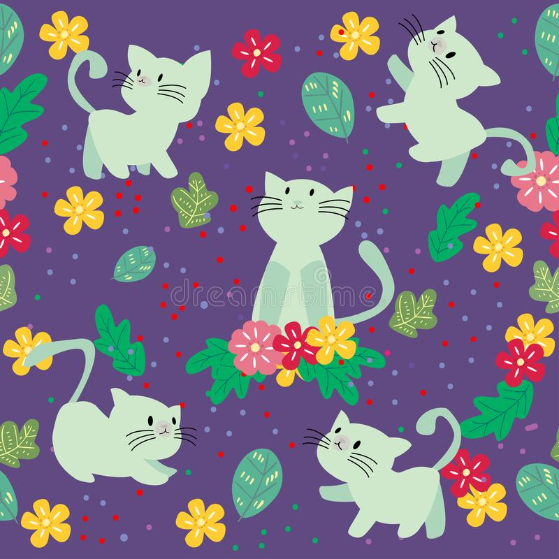 Cute Cat seamless pattern with flower on colorful background Vector illustration.Cartoon style royalty free stock images