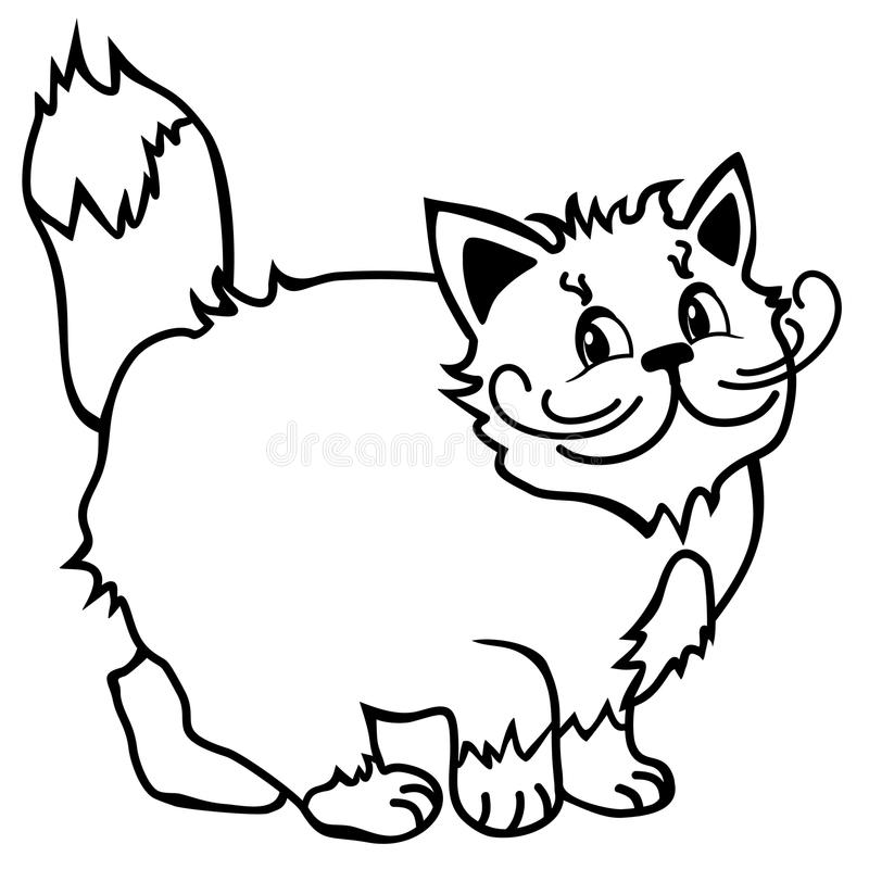 Cute Simple Line Art : Cute cat simple line drawing smiling cartoon stock