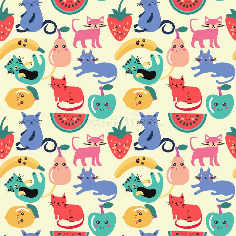 Cute cat and summer fruit seamless pattern vector illustration