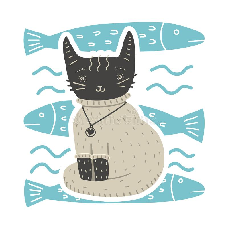 Cute cat in sweater sits on background of fish stock image