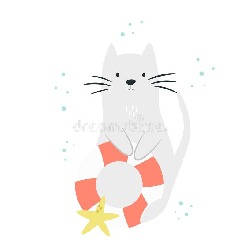 Cute cat with swimming ring and sea star. royalty free illustration