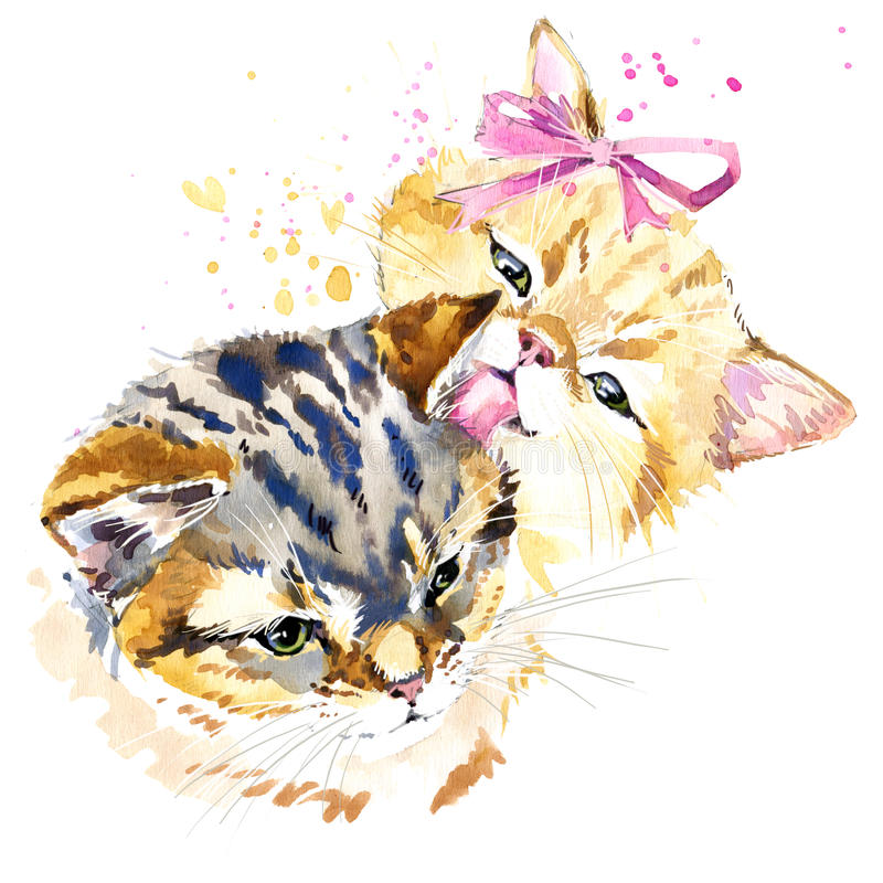 Cute cat T-shirt graphics, watercolor cat family illustration. With splash watercolor textured background. illustration cat for fashion print, poster for