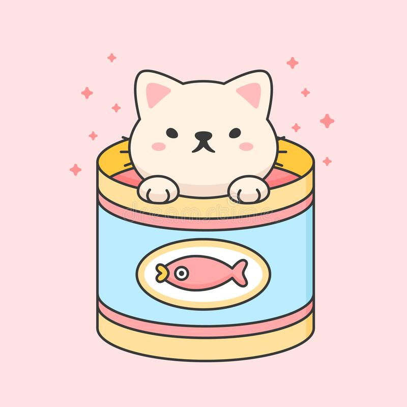 Cute cat in a tuna can. Cartoon animal character vector. Cartoon character design royalty free illustration