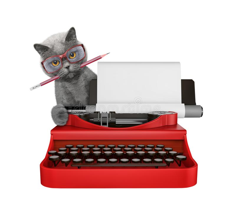 Cute cat is typing on a typewriter keyboard. Isolated on white. Background vector illustration
