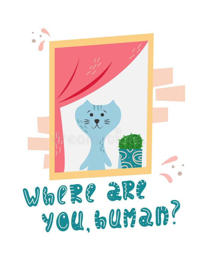 Cute cat waiting for his master in cartoon flat style. Hand drawn illustration with quote stock illustration