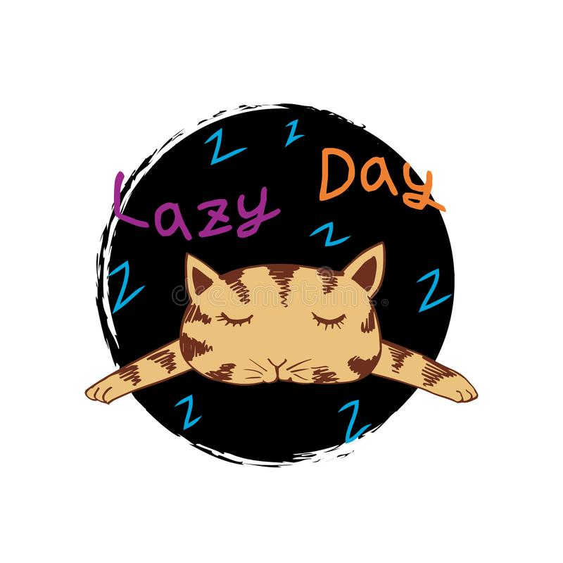 Cute cat with word lazy day. For cards, flyers, posters, shirts design stock illustration