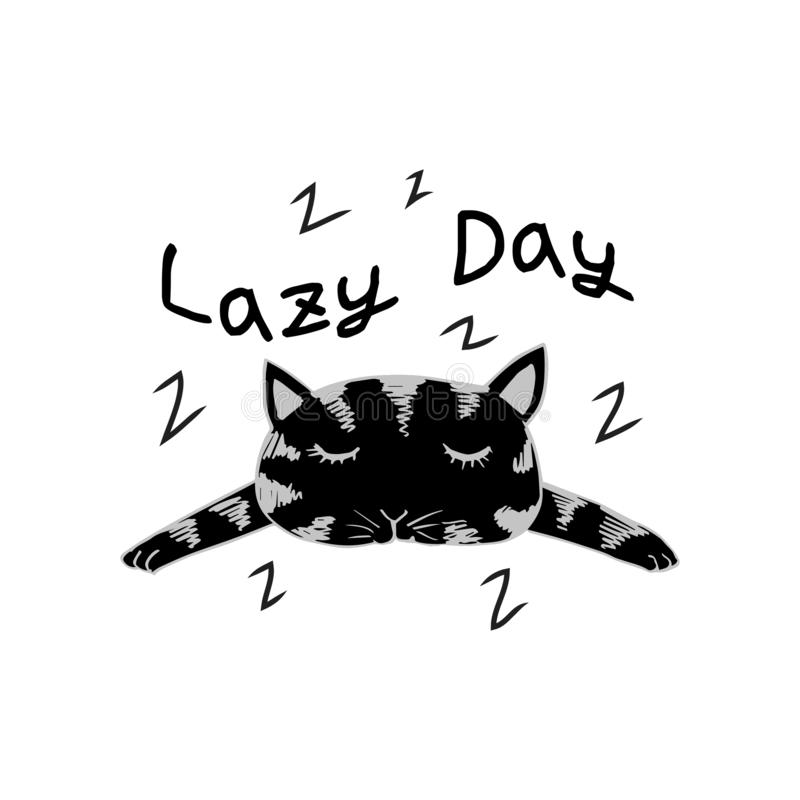 Cute cat with word lazy day. For cards, flyers, posters, shirts design royalty free illustration