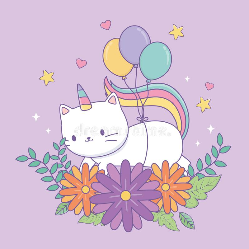 Free Cute Caticorn With Floral Decoration And Balloons Helium Royalty Free Stock Images - 156959039
