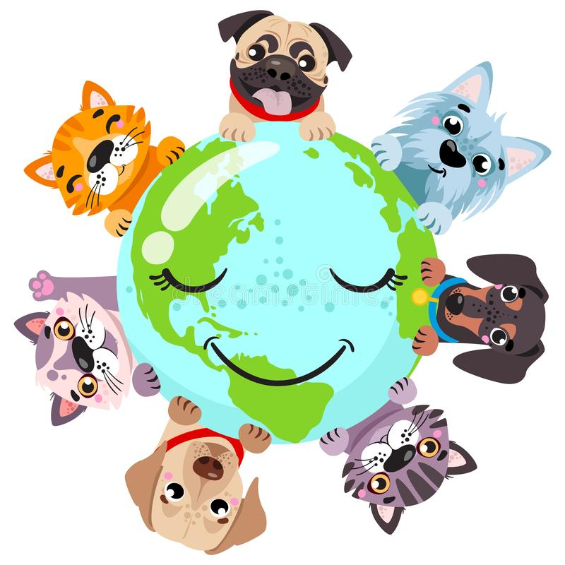 Cute cats an around globe banner vector illustration. Animals planet concept, world continents fauna, world map with cats and dog. stock illustration