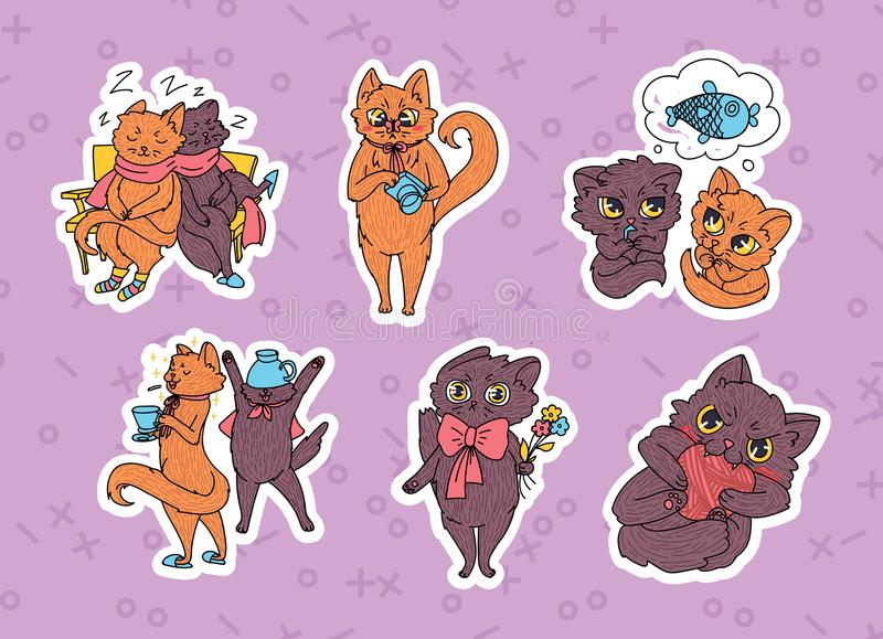 Cute cats collection for stickers, greeting card, invitation etc stock illustration