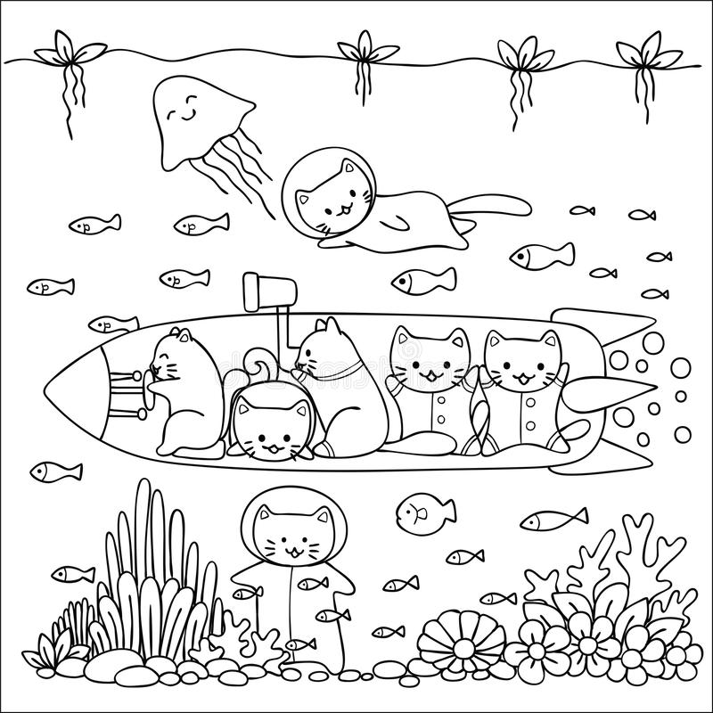 Cute cats enjoy exploring under water world design for wallpaper art,cards,invitations and coloring book page.Vector illustration vector illustration