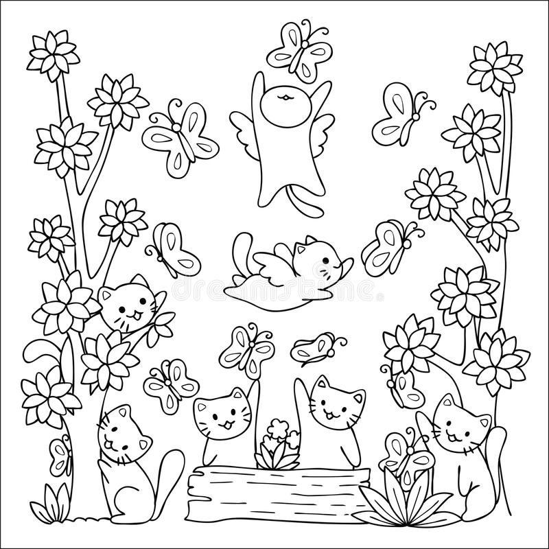 Cute cats enjoy playing with butterflies with friends in nature design for wallpaper art and coloring book page for kids. Vector i. Llustration stock illustration