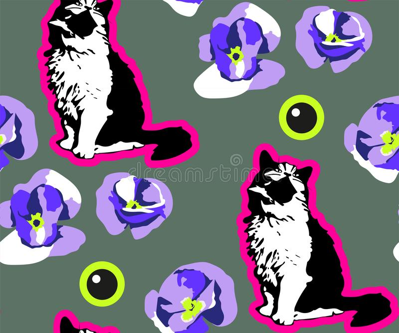 Cute Cats and flowers seamless pattern. Pet vector illustration. Cartoon cat images. Cute design for kids royalty free illustration